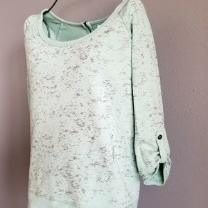 Loose Fit Mint Metallic Sweater Top